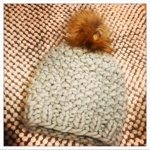 Cable-Knit Hat with Faux Fur Pom